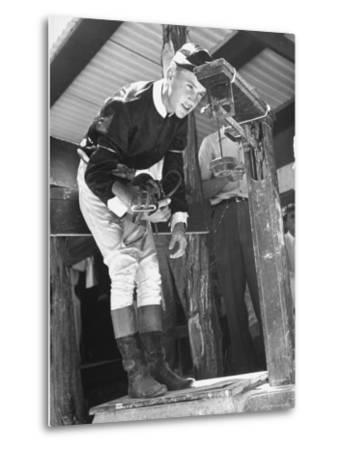 Jockey Weighing in at Race Track-Cornell Capa-Metal Print