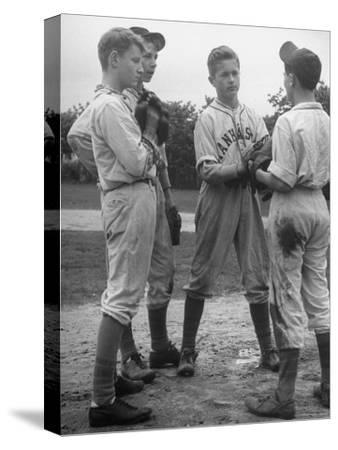 Boys Having a Discussion Before Playing Baseball-Nina Leen-Stretched Canvas Print