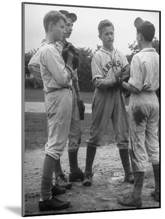Boys Having a Discussion Before Playing Baseball-Nina Leen-Mounted Photographic Print