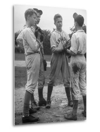 Boys Having a Discussion Before Playing Baseball-Nina Leen-Metal Print
