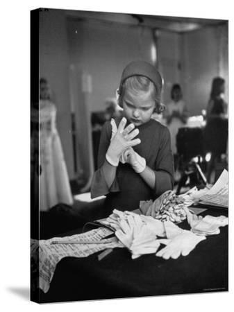 Eight Year Old Girl Modeling in a Fashion Show-Nina Leen-Stretched Canvas Print