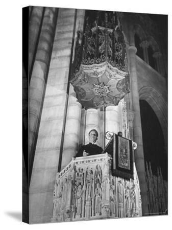 Dr. Harry Emerson Fosdick Delivering Sermon From the Pulpit of Riverside Church-Margaret Bourke-White-Stretched Canvas Print