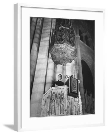 Dr. Harry Emerson Fosdick Delivering Sermon From the Pulpit of Riverside Church-Margaret Bourke-White-Framed Photographic Print
