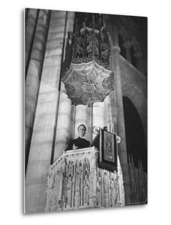 Dr. Harry Emerson Fosdick Delivering Sermon From the Pulpit of Riverside Church-Margaret Bourke-White-Metal Print