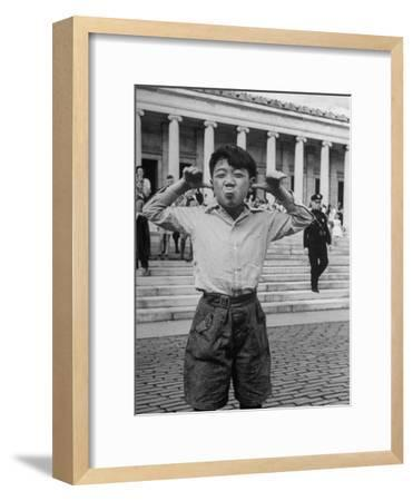 Boy Mugging For the Camera Outside the Toledo Art Museum-Alfred Eisenstaedt-Framed Photographic Print