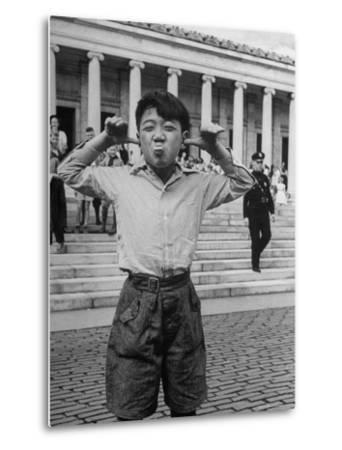 Boy Mugging For the Camera Outside the Toledo Art Museum-Alfred Eisenstaedt-Metal Print