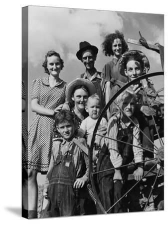 Group Portrait of a Farmer and His Family-Alfred Eisenstaedt-Stretched Canvas Print
