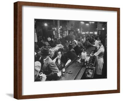 Bar Crammed with Patrons at Sammy's Bowery Follies-Alfred Eisenstaedt-Framed Photographic Print