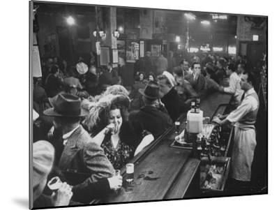Bar Crammed with Patrons at Sammy's Bowery Follies-Alfred Eisenstaedt-Mounted Photographic Print