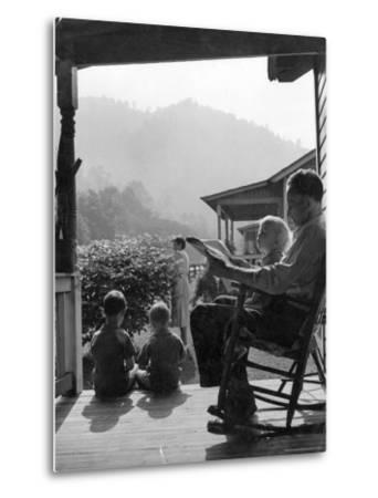 Family Outside in Front Yard of Their Home in Coal Mining Town-Alfred Eisenstaedt-Metal Print