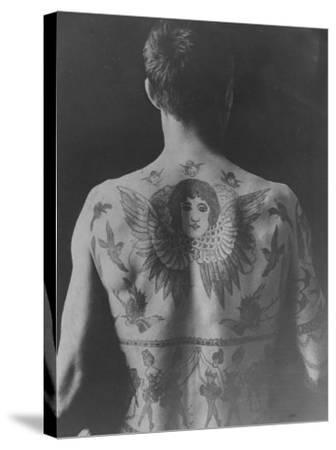 Good Study of the Back of a Tattooed Man--Stretched Canvas Print