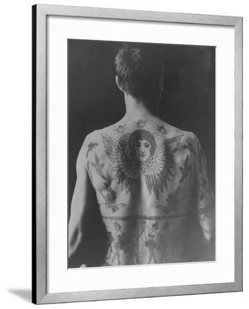 Good Study of the Back of a Tattooed Man--Framed Photographic Print