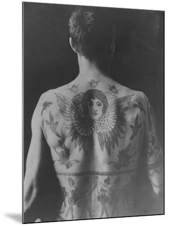 Good Study of the Back of a Tattooed Man--Mounted Photographic Print