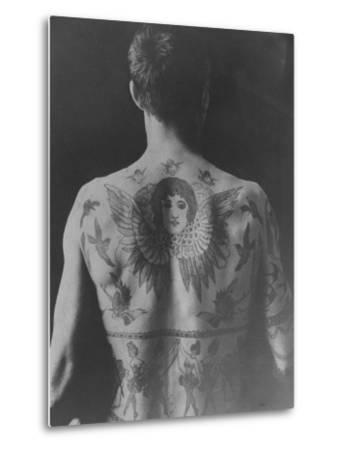 Good Study of the Back of a Tattooed Man--Metal Print