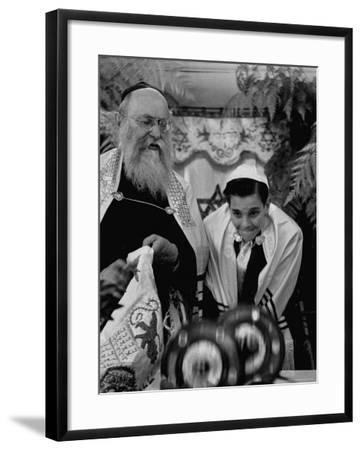 Carl Jay Bodek During Hebrew Ceremony with Rabbi David S. Novoseller-Lisa Larsen-Framed Photographic Print