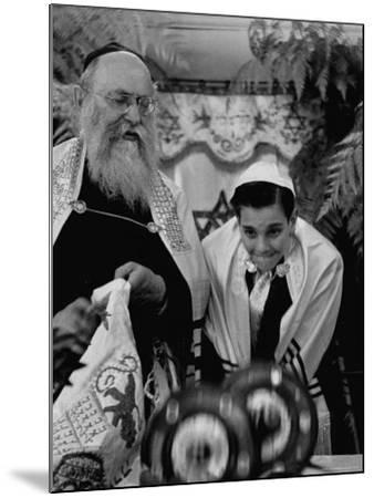 Carl Jay Bodek During Hebrew Ceremony with Rabbi David S. Novoseller-Lisa Larsen-Mounted Photographic Print