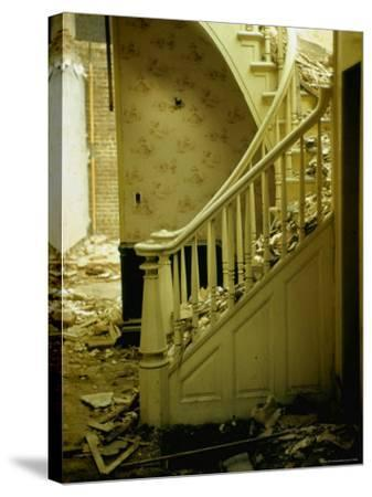Elegant Curving Stairway Amid Rubble in Building under Demolition, in New York City-Walker Evans-Stretched Canvas Print