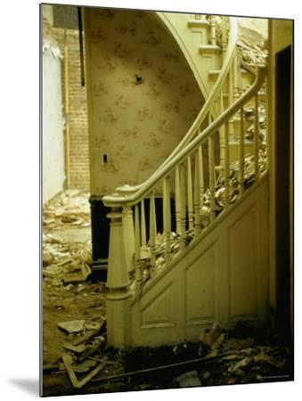 Elegant Curving Stairway Amid Rubble in Building under Demolition, in New York City-Walker Evans-Mounted Photographic Print