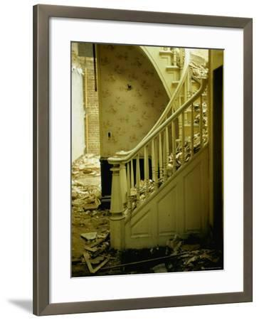 Elegant Curving Stairway Amid Rubble in Building under Demolition, in New York City-Walker Evans-Framed Photographic Print
