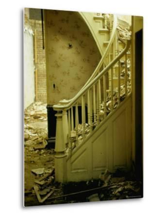 Elegant Curving Stairway Amid Rubble in Building under Demolition, in New York City-Walker Evans-Metal Print
