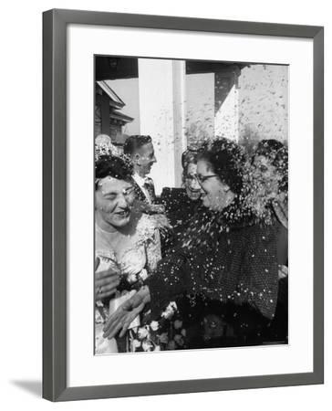 Confetti Shower After Italian American Wedding-Ralph Morse-Framed Photographic Print