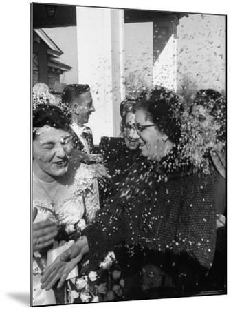 Confetti Shower After Italian American Wedding-Ralph Morse-Mounted Photographic Print
