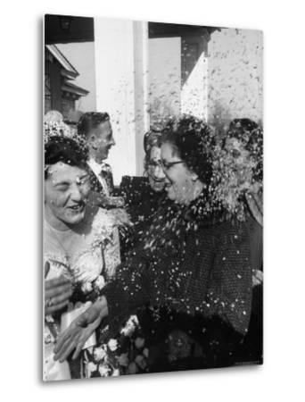 Confetti Shower After Italian American Wedding-Ralph Morse-Metal Print