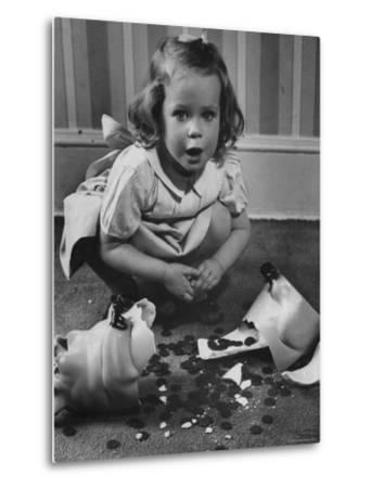 Little Girl Leaning over Her Broken Piggy Bank-Nina Leen-Metal Print