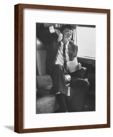 Jubilant Ronald Reagan Celebrating His Victory For Governor During California Gubernatorial Primary-John Loengard-Framed Photographic Print