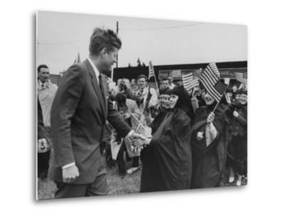 Irish Schoolchildren Waving Flag As They Greet President John F Kennedy Photographic Print By John Dominis Art Com