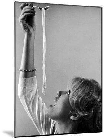 Hayley Mills Attempting to Eat Spaghetti-Ralph Crane-Mounted Photographic Print