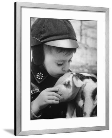 Little Boy Playing with Piglet on Farm in Kansas-Francis Miller-Framed Photographic Print