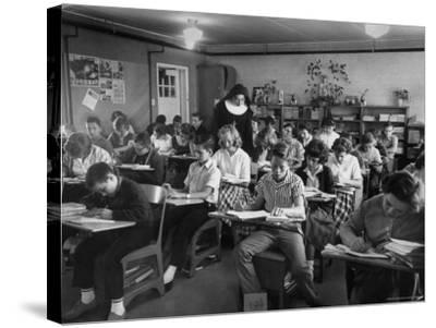 Classroom Scene at School For St. Teresa Church in New Building-Bernard Hoffman-Stretched Canvas Print