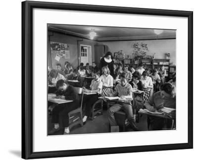 Classroom Scene at School For St. Teresa Church in New Building-Bernard Hoffman-Framed Photographic Print