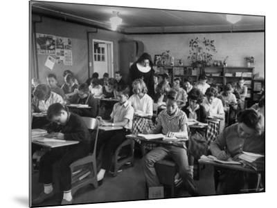 Classroom Scene at School For St. Teresa Church in New Building-Bernard Hoffman-Mounted Photographic Print