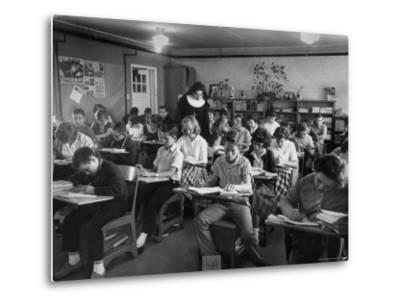 Classroom Scene at School For St. Teresa Church in New Building-Bernard Hoffman-Metal Print
