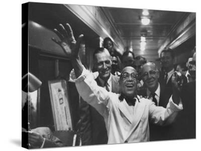 Party Aboard New Haven Train-Peter Stackpole-Stretched Canvas Print