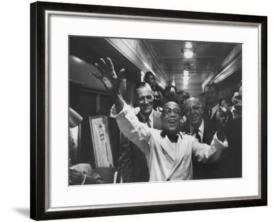 Party Aboard New Haven Train-Peter Stackpole-Framed Photographic Print