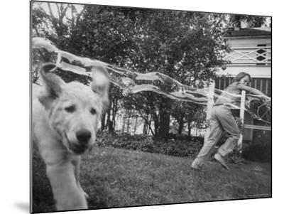 Girl Making Huge Bubbles with Soapy Solution and Large Ring in Yard-Stan Wayman-Mounted Photographic Print