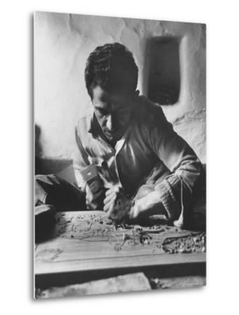 Greek Mountain Villager Engaged in Woodworking During the Winter-James Burke-Metal Print