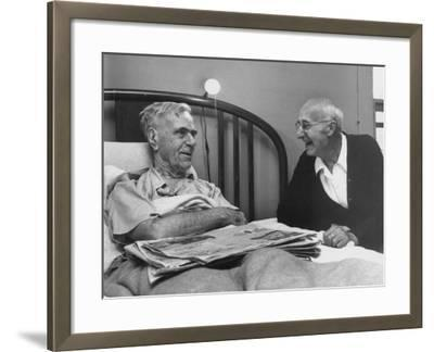 John H. Heblich Visiting Elderly Man in Bed with Broken Hip-Francis Miller-Framed Photographic Print
