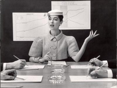 Business Woman Wearing Fashion That Gives Wide Shoulder Look-Nina Leen-Framed Photographic Print
