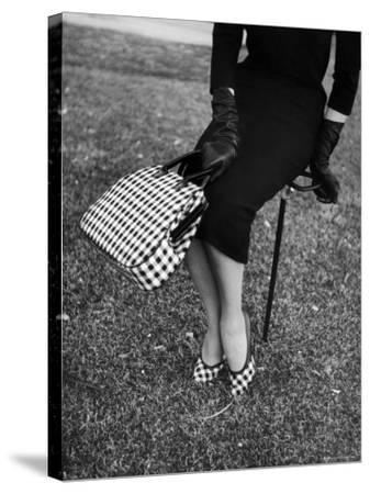 Big Checked Handbag with Matching Shoes, New Mode in Sports Fashions, at Roosevelt Raceway-Nina Leen-Stretched Canvas Print
