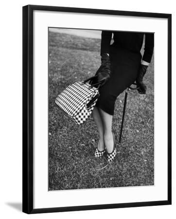 Big Checked Handbag with Matching Shoes, New Mode in Sports Fashions, at Roosevelt Raceway-Nina Leen-Framed Photographic Print