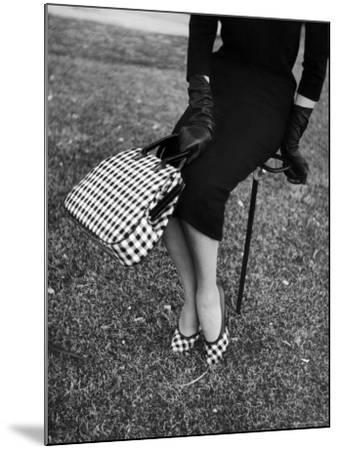 Big Checked Handbag with Matching Shoes, New Mode in Sports Fashions, at Roosevelt Raceway-Nina Leen-Mounted Photographic Print