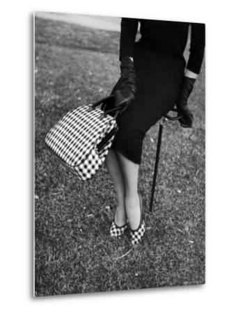 Big Checked Handbag with Matching Shoes, New Mode in Sports Fashions, at Roosevelt Raceway-Nina Leen-Metal Print