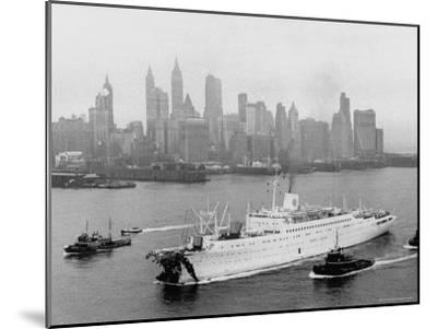 Aerial View of MS Stockholm Entering Harbor After Crash with SS Andrea Doria Against Skyline-Howard Sochurek-Mounted Photographic Print