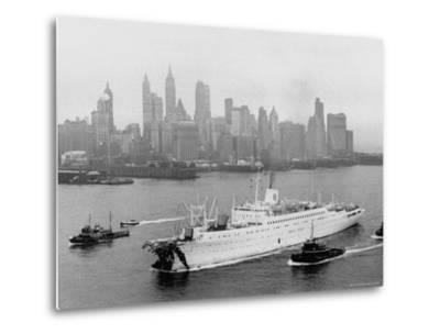 Aerial View of MS Stockholm Entering Harbor After Crash with SS Andrea Doria Against Skyline-Howard Sochurek-Metal Print