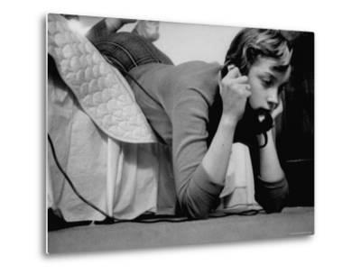 Ginny Nyvall Talking on the Phone-Grey Villet-Metal Print