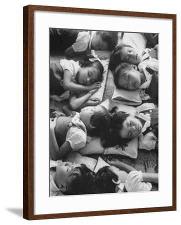 Kindergarten Students at the Yumin Chinese School Laying Head to Head During Nap Time-Howard Sochurek-Framed Photographic Print